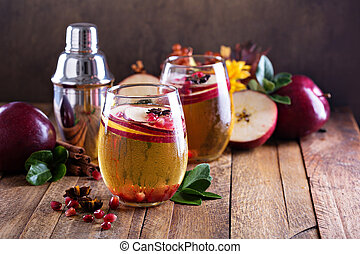 Apple cider cocktail with pomegranate - Apple cider fall...