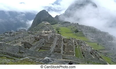 View of the ancient Inca City of Machu Picchu. The 15-th century Inca site.'Lost city of the Incas'. Ruins of the Machu Picchu sanctuary. UNESCO World Heritage site