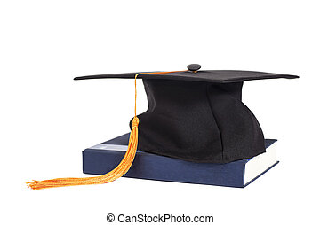 Graduation Cap On Book isolated