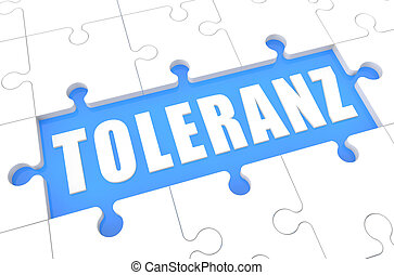 Toleranz - german word for tolerance - puzzle 3d render...