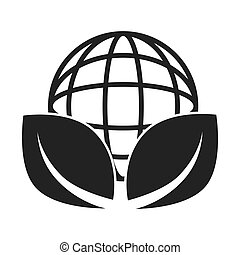global ecology leaves icon vector illustration