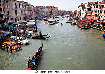 Italy, Venice, Canale Grande - The famous Grand Canal in...