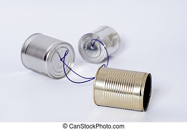 Tin can phone.Telecommunication concept