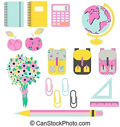 School supplies vector clip art stationery objects. Bright...