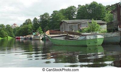 Fishing boats moored camera motion