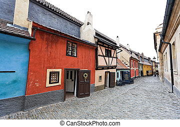 Prague, Golden Lane at Prague Castle - Prague, the Golden...