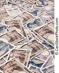 Yen bank notes, currency from Japan - Many Japanese money...
