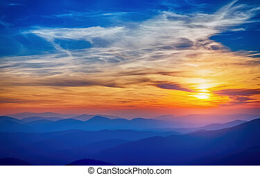 Colorful sunset sunshine clouds and above blue - Colorful...