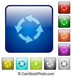 Color rotate left square buttons - Set of rotate left color...
