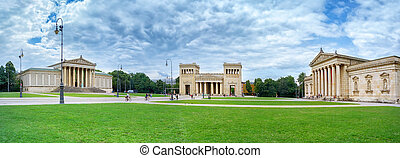Panoramic image of the Konigsplatz in Munich Germany Europe...