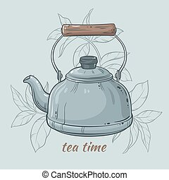 kettle - Vector Illustration with blue kettle on color...