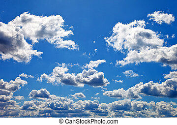 Blue sky with white clouds as background - Beautiful blue...