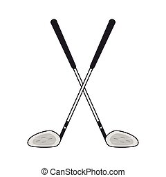 Golf Clubs Crossed icon - flat design Golf Clubs Crossed...