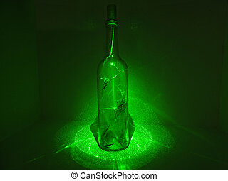 Glass bottle in laser abstraction - Glass bottle in...