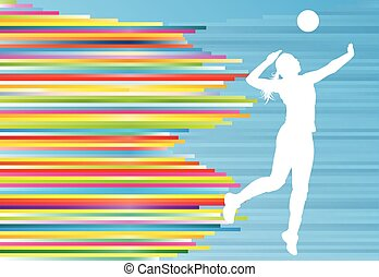 Volleyball player woman silhouette abstract vector...