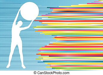 Woman fitness exercises on fitness ball vector abstract illustration