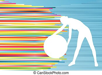 Woman fitness exercises on fitness ball vector abstract...
