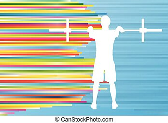 Man powerlifting barbell crossfit gym vector abstract...