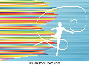 Gymnastic girl with ribbon abstract vector background...