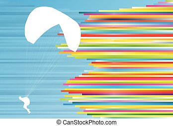 Paraglider flying vector background abstract illustration...