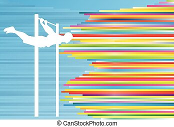 Man pull-ups bar exercising gym vector abstract background