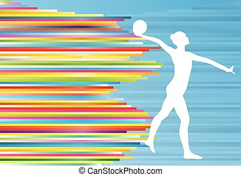 Gymnastic girl with ball abstract vector background colorful...