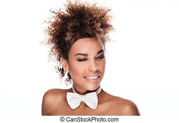 beauté,  élégant, Américain, africaine,  portrait, femme