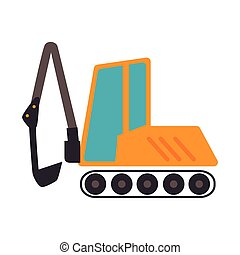 Backhoe construction machinary icon vector illustration -...