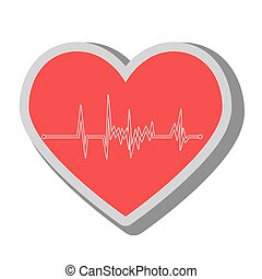 heart waves medical icon, vector illustration