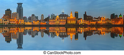 Skyline of The Bund, marvellous historical buildings and...