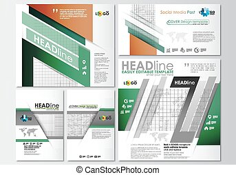 Social media posts set. Business templates. Cover design template, easy editable, abstract flat layouts in popular formats. Back to school background with letters made from halftone dots, vector