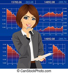 Female announcer with microphone and exchange graph chart...