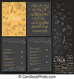 Vector illustrated Set Cheese Menu Illustrative sorts of...