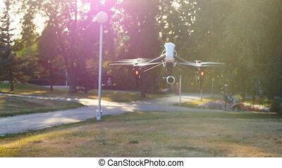 Drone with camera flying - Drone with 4K camera flying,...
