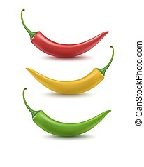 Set of Red Yellow Green Hot Chili Pepper Isolated on White Background