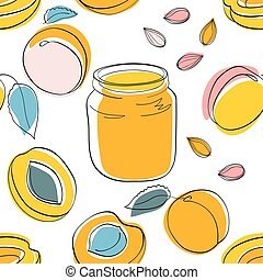 Seamless pattern Apricot jam and fruits
