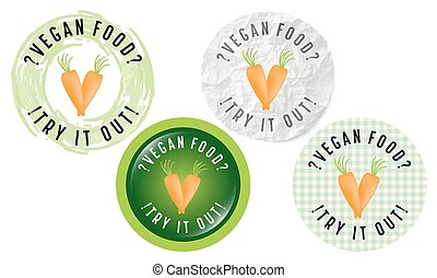 Set of four circular icons with the words vegan food, try it out