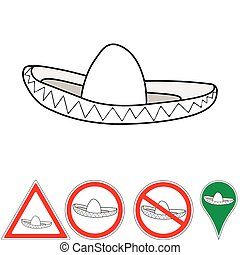 sombrero , Mexican accessory pointer signs, hat sombrero...