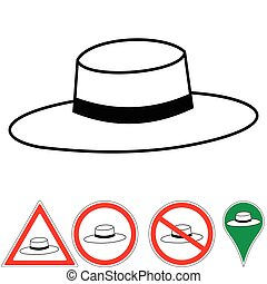 Rabbi hat - Vector illustration of a Rabbi hat and signs the...
