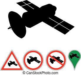 satellite - sign satellite on white pointer