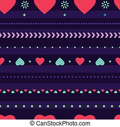 Seamless texture background for fabric vector design, heart flowers abstract