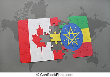 puzzle with the national flag of canada and ethiopia on a...