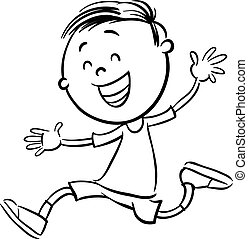 boy character coloring book - Black and White Cartoon...