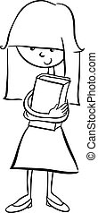 girl with book coloring book