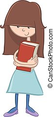 school girl character with book - Cartoon Illustration of...