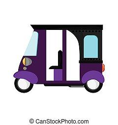 rickshaw or tuk tuk sideview icon - flat design purple...