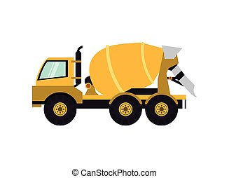 cement mixer truck icon - flat design cement mixer truck...