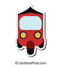 rickshaw or tuk tuk frontview icon - flat design red...