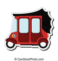rickshaw or tuk tuk sideview icon - flat design red rickshaw...