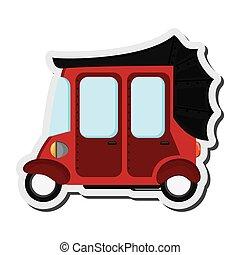 rickshaw or tuk tuk sideview icon - flat design red rickshaw...